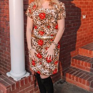 🐆🌹Vintage Leopard & Rose Dress by Miss Dorby